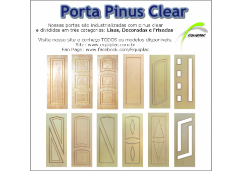 Portas em pinus clear lisa, decorada e frisada